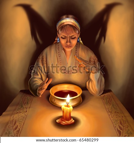 Witch dressed in traditional Ukrainian (Russian) clothes casting spells, with shadow in the form of demonic wings behind her, illustration - stock photo