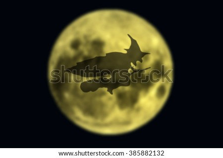 witch flying - stock photo