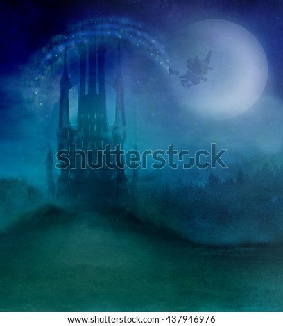 Witch flying on a broom in moonlight. - stock photo