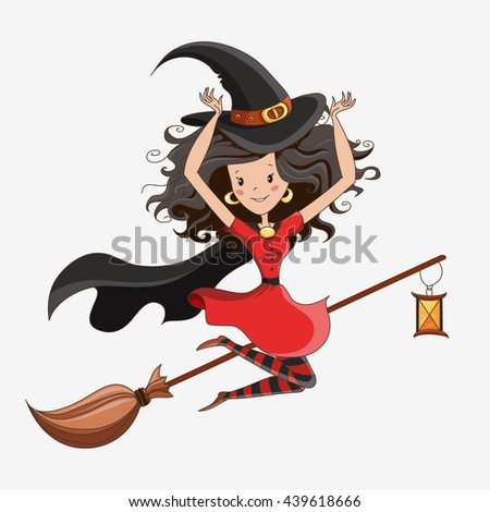 Witch/ Halloween Witch/ Little Witch/ Flying Witch. Element for design, prints and greeting cards. Halloween series