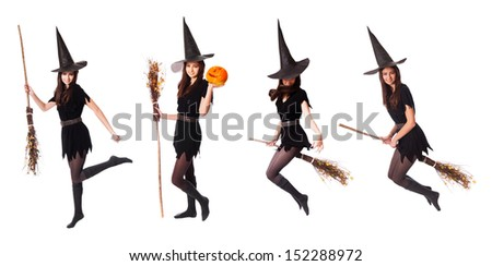 witch isolated on white - stock photo