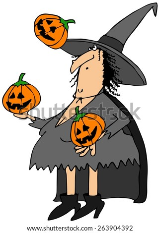 Witch juggling pumpkins - stock photo