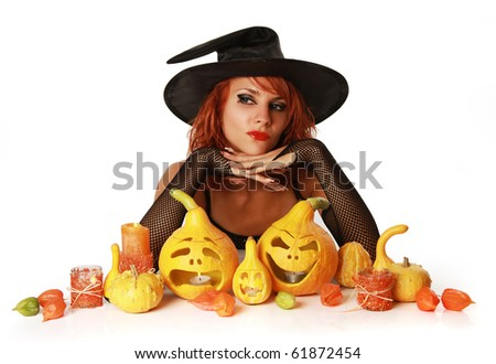 witch making tricks on halloween night