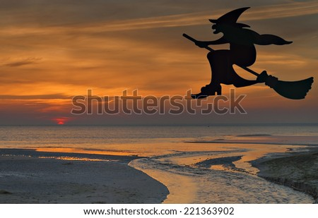 Witch on flying on broomstick during colorful sunrise. Conceptual image for Halloween. - stock photo
