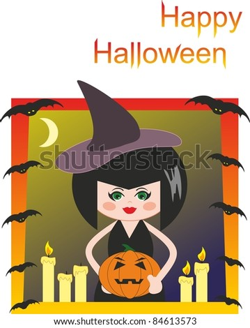 Witch, pumpkin, candles and bats. Halloween. Comic cartoon illustration - stock photo