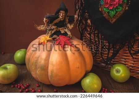 witch pumpkin wicker basket Halloween toy horror czech russian - stock photo