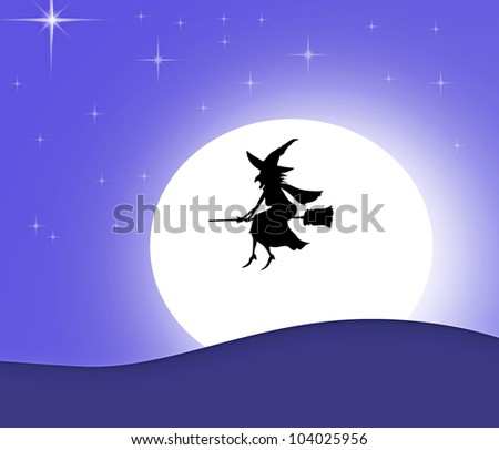 witch silhouette on a broom over moon - stock photo