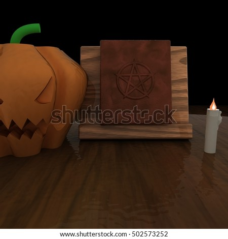 Witch table with book with pentacle, candle and Jack O' Lantern, 3d rendering