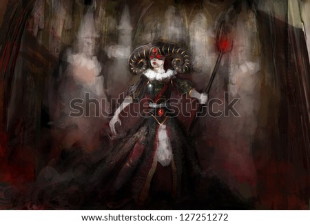 witch warrior with ghost in cathedral - stock photo