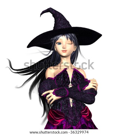 Witch winking her eye, with wind blowing through her hair, arms crossed. Illustration on clean white background. - stock photo