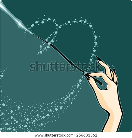 Witch with a magic wand (raster version) - stock photo