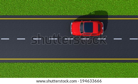 with a car on asphalt road and green grass (top view) - stock photo
