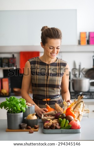 With all of these beautiful autumn fresh fruits, nuts, and vegetables, the possibilities for delicious home-made dishes are endless. - stock photo