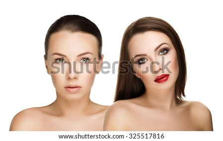 with and without makeup comparison portraits beautiful girl, before and after. left clean face nude makeup and right makeup and retouch. Everyday makeup with good young skin - stock photo