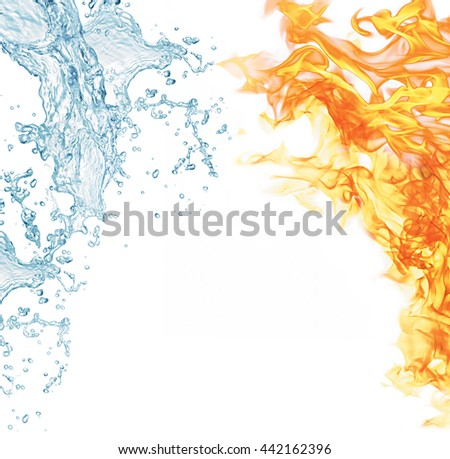 With fire flames and water drops concept, isolated on white background - stock photo