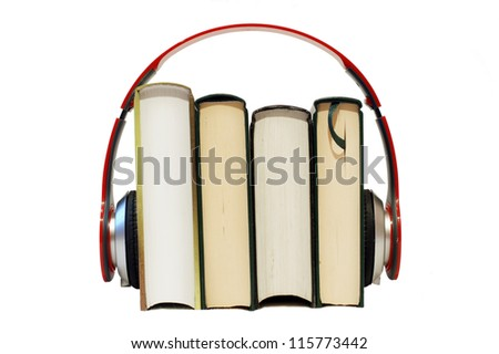 With headphones you can hear some good stories. - stock photo