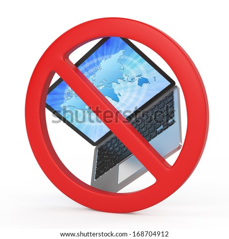 with laptops is prohibited, forbidden sign concept - stock photo