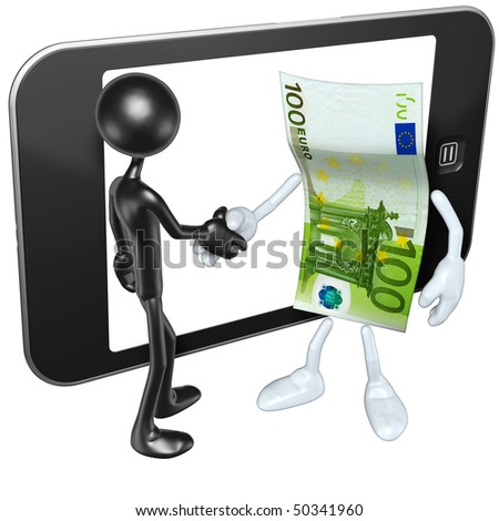 With Money And Touch Screen Mobile Device