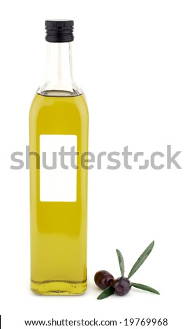 With olive oil bottle - stock photo