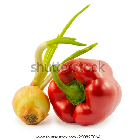 with onion sprouts and red peppers isolated on a white background - stock photo