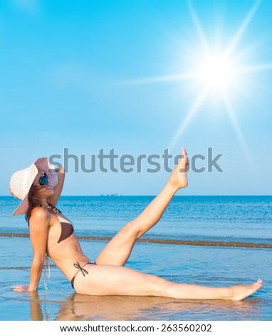 With Sun in the Sky Summer Beach  - stock photo
