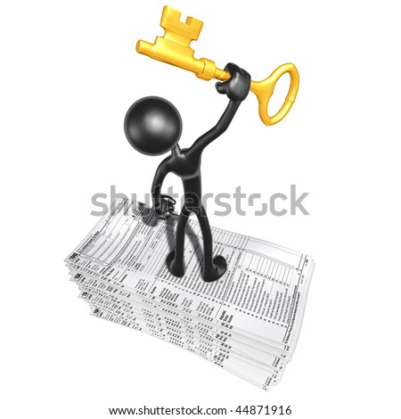 With Tax Forms And Gold Key - stock photo