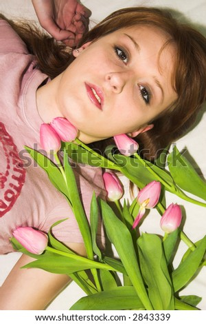 with the tulips - stock photo