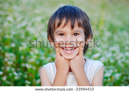 With with smile grimace on face - stock photo