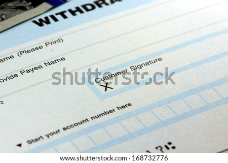 Withdrawal slip from checking or savings account - stock photo