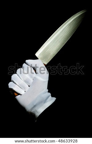 Withe glove and knife