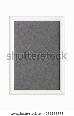 withe picture frame with gray cardboard matte, isolated on white - stock photo