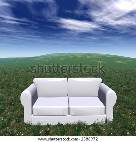 withe sofa on a green grass in a sunny day - stock photo