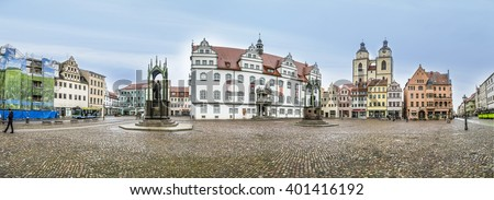 WITTENBERG, GERMANY - MAR 25, 2016: The Main Square of Luther City Wittenberg in Germany. Wittenberg is UNESCO World Heritage Site. - stock photo