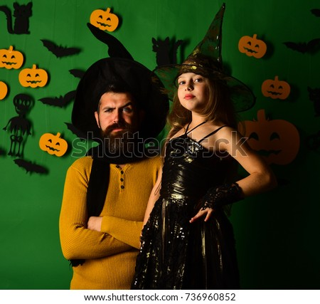 Wizard and little witch in black hats. Father and daughter in Halloween costumes. Girl  sc 1 st  Shutterstock : father and daughter halloween costumes  - Germanpascual.Com