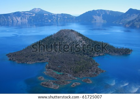 Wizard Island, Oregon - stock photo