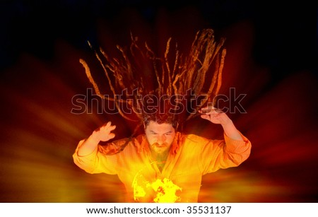 Wizard with glowing magical orb, close up - stock photo