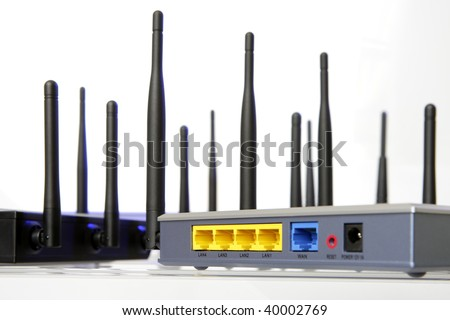 Wlan Router isolated on white background - stock photo
