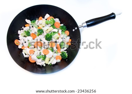 Wok with vegetables and chicken