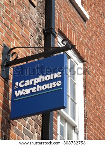 Wokingham, Market Place, Berkshire, England - August 22, 2015: The Car Phone Warehouse sign over store, British mobile phone company with over 2,400 stores across Europe