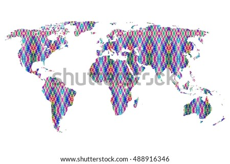 wold map on white background,colorful bamboo woven pattern wold map on white background.