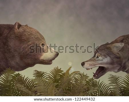 Wolf and Bear. Dialog. Illustration - stock photo
