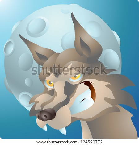 wolf and the moon - stock photo