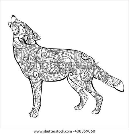 Wolf Coloring Book Wolf Coloring Page Stock Illustration