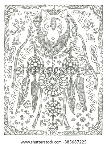 Wolf Dream Catcher Coloring Page Stock Illustration