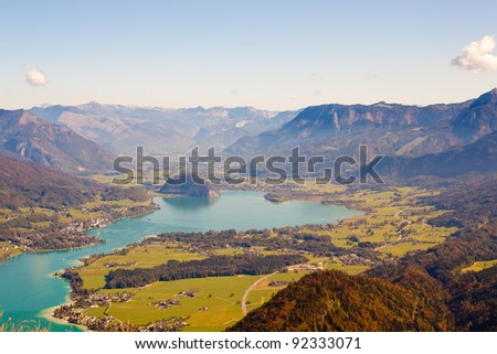 Wolfgangsee lake and mountains - stock photo