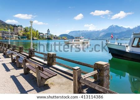 Wolfgangsee lake cruise at St. Wolfgang, Salzkammergut, Austria - stock photo