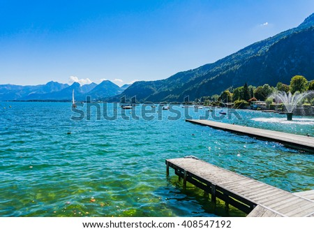 Wolfgangsee lake from St.Gilgen harbor in summer, Austria - stock photo