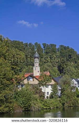 Wolfratshausen, former county town with the river Loisach - stock photo