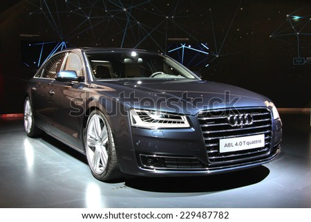 WOLFSBURG, GERMANY - AUGUST 14, 2014: German car Audi A8 at the museum of the Volkswagen Autostadt. - stock photo
