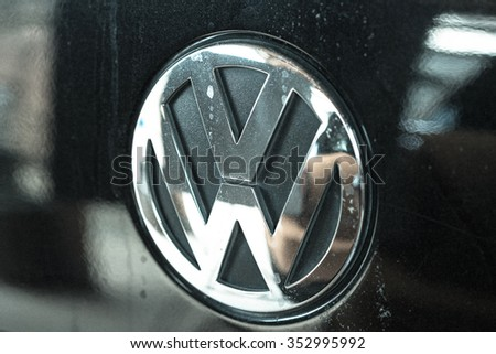 Wolfsburg, Germany - September 28, 2015 - Volkswagen VW cheating in tests for pollution and emissions of its diesel motor in the us - stock photo